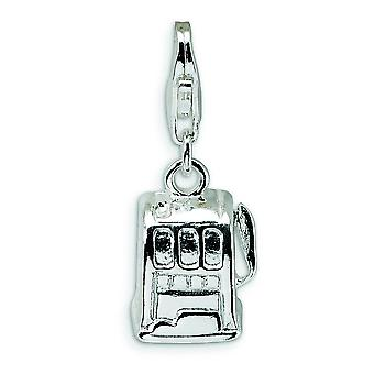 Sterling Silver 3D lucido Slot Machine con astice Clasp fascino - 2,3 grammi - misure 23x8mm