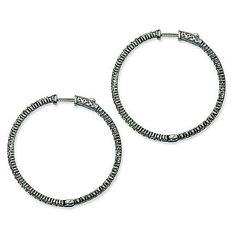 Sterling Silver Polished Prong set Hinged hoop Safety clasp Ruthenium plating Black Plated With Cubic Zirconia Hoop Earr