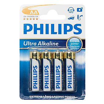Phillips Ultra Alkaline AA LR6 B4 Batteries 4 Pack