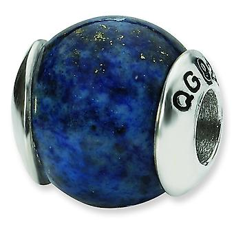 Sterling Silver Polished Antique finish Reflections Lapis Stone Bead Charm