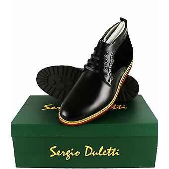 Sergio Duletti Orlando Mens Real Leather Brogue Ankle Lace Up Boots H1212 Black UK 6 = EU 40