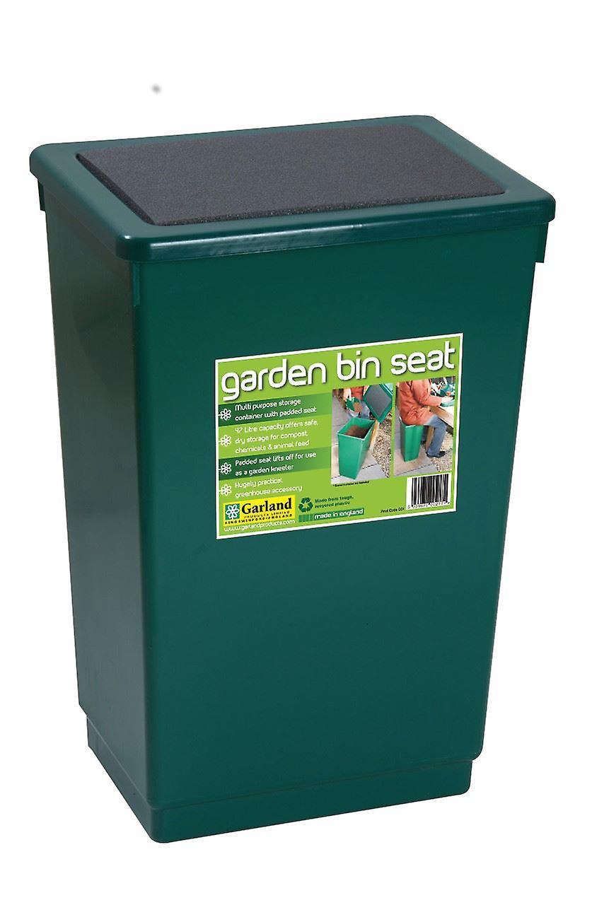 Garden Bin Seat Storage Chair Trash Plastic Green