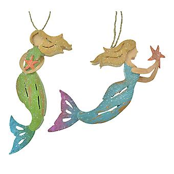 Mermaids with Starfish Christmas Holiday Ornaments Set of 2