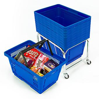10 Blue Plastic Shopping Baskets with Mobile Basket Stacker - 21L