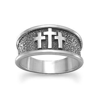 Oxidized Three Cross Ring Oxidized Ring 3 Raised Crosses The Top Tapers Down From 10.5mm - Ring Size: 8 to 13