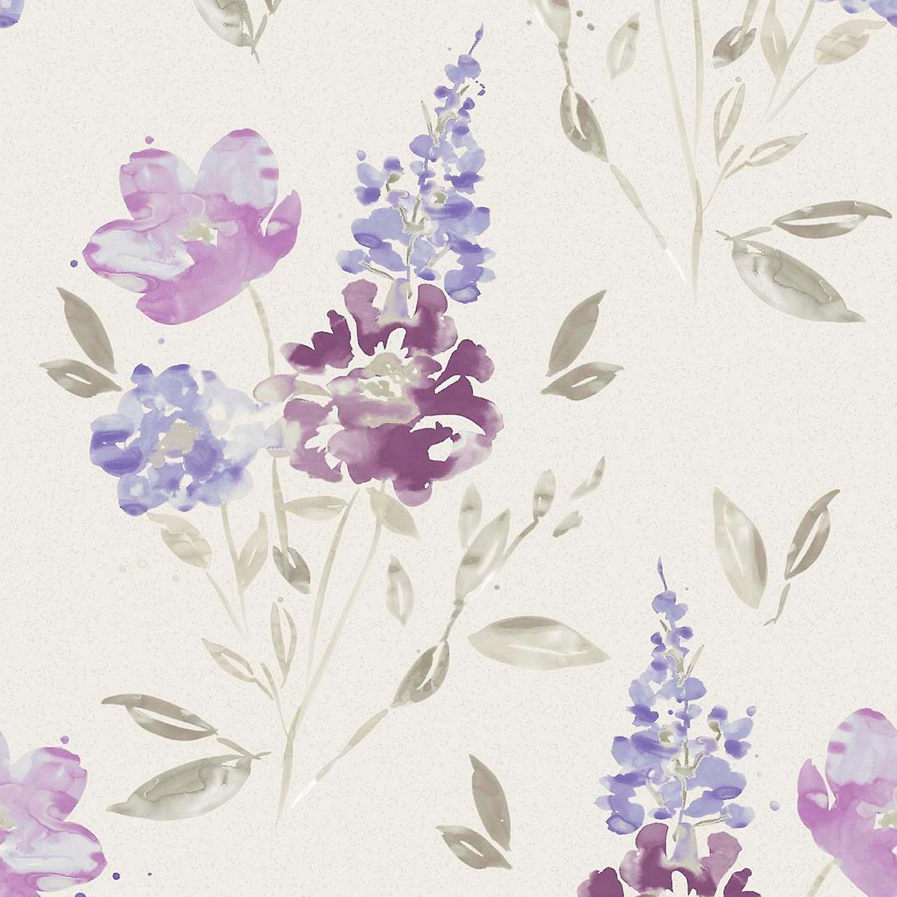 Flower Wallpaper Floral Abstract Watercolour Glitter Vinyl White Purple Taupe