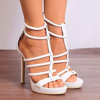 Shoe Closet White Strappy Heels - Ladies Fd25 White Strappy Sandals Peep Toes High Heels