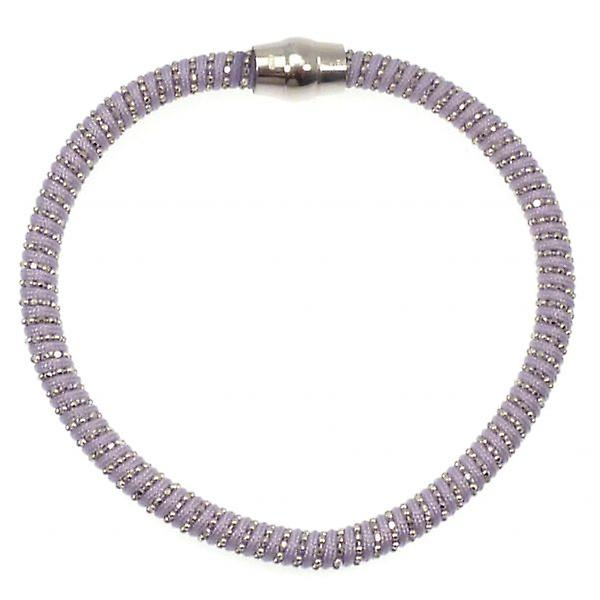 W.A.T Sterling Silver Lilac Cord Sparkle Magnet Bracelet