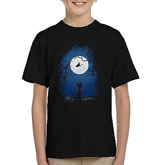 Airmail Kikis Delivery Service Moon Silhouette Kid's T-Shirt