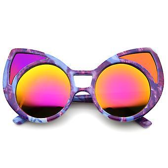 Women's Oversize Colored Frame Mirror Lens Cat Eye Sunglasses 52mm