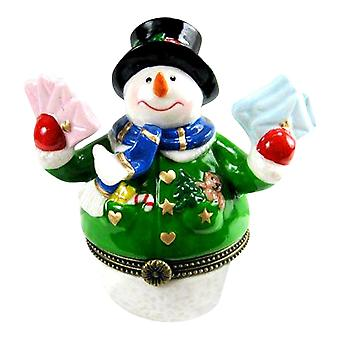 Snowman Mailing Letters and Christmas Cards Hinged Trinket Box phb
