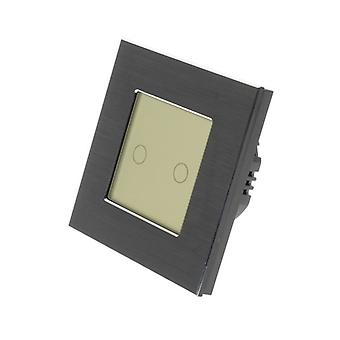 I LumoS Black Brushed Aluminium 2 Gang 1 Way WIFI/4G Remote Touch LED Light Switch Gold Insert