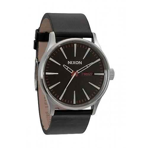 Nixon The Sentry Leather Watch - Black
