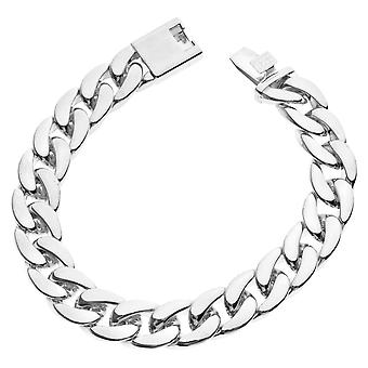 Iced out chain bracelet - CUBAN LINK 12 mm silver