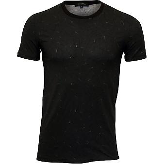 Ermenegildo Zegna Black Fantasy Stretch Cotton Crew-Neck T-Shirt, Black