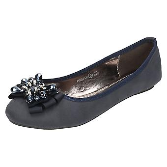 Womens Spot On Embellished Bow Detail Ballet Flats