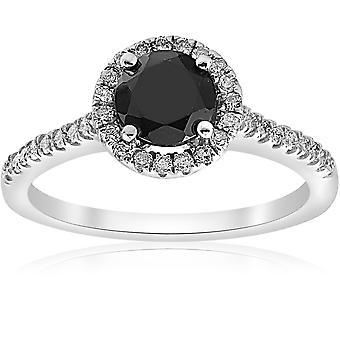 1 3 / 8ct diamant & noir bague de fiançailles or blanc 14K