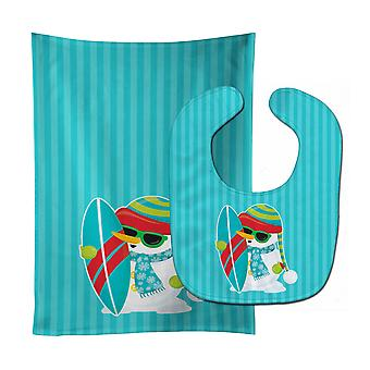 Carolines Treasures  BB9076STBU Beach Snowman Surfer Baby Bib & Burp Cloth