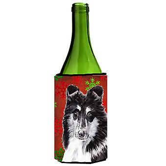 Black and White Collie Red Snowflakes Holiday Wine Bottle Beverage Insulator Hug