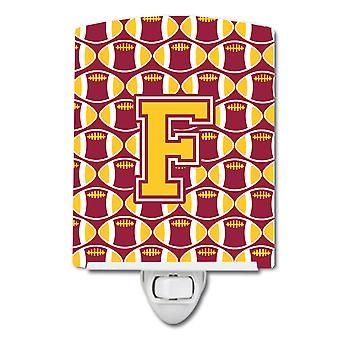 Letter F Football Maroon and Gold Ceramic Night Light