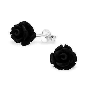 Rose - 925 Sterling Silver + Plastic Colourful Ear Studs