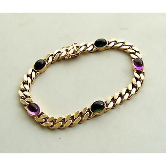 Gold Bracelet with amethyst and tourmaline
