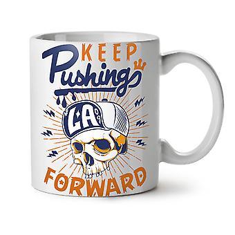 Keep Pushing NEW White Tea Coffee Ceramic Mug 11 oz   Wellcoda