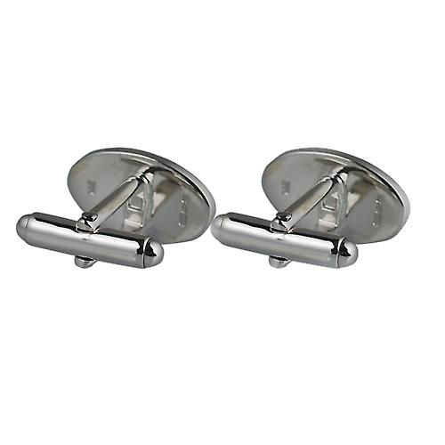Silver 12x19mm oval half hand engravel swivel Cufflinks