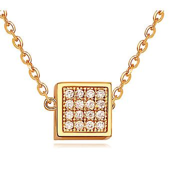 Womens Girls Rose Gold Cube Pendant Necklace With Crystal Elements