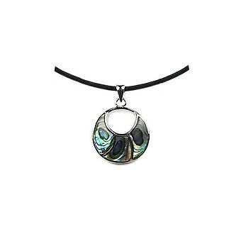 Kvinna cirkel abalone hängsmycke halsband