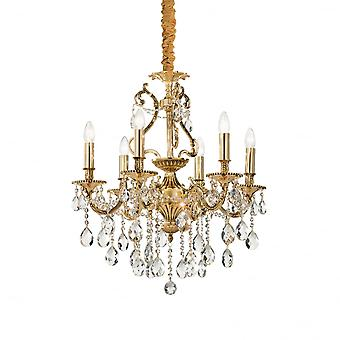 Ideal Lux Gioconda Traditional Gold Ceiling Pendant With Diamante Design 6 Light