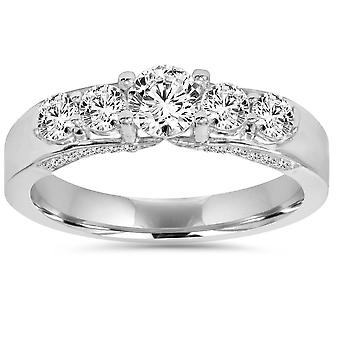 1ct Diamond Engagement Ring 14K White Gold