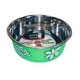 Nayeco Trough stainless green Blossom 800 ml (Dogs , Bowls, Feeders & Water Dispensers)
