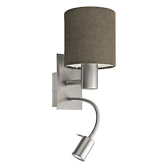 Eglo Pasteri Nickel Bedside Wall Sconce With Brown Drum Shade And Reading Light, Switched