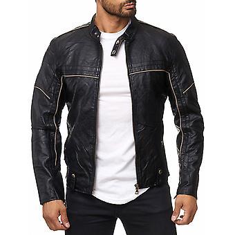 Giacca uomo in pelle giacca ecopelle NERO Biker transizione