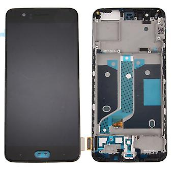 For ONEPLUS five 5 display LCD complete unit + frame repair black