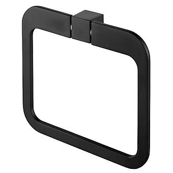 Wall Towel Ring Round Dressing-Gown Hanger Bathroom Black Powder Coated Zamak