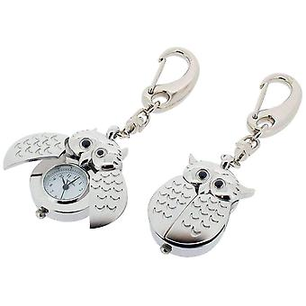 Gift Time Products Owl Open Wing Clock Key Ring - Silver