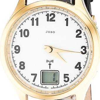 JOBO ladies wrist watch gold plated stainless steel gold leather strap mineral crystal clock
