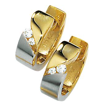 Earrings hoops, part rhodium plated 333 / - yellow gold, partially frosted, 4 cubic zirconia, folding mechanism