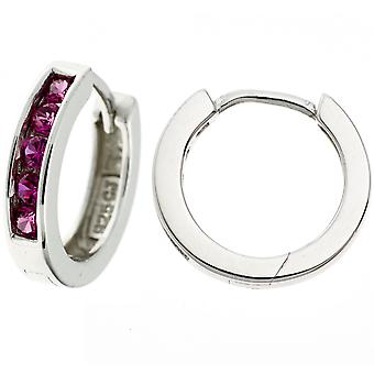 Hoops around 925 sterling silver rhodium plated 10 cubic zirconia earrings Red