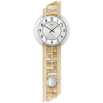 AMS 7423 wall clock quartz with pendulum wooden Sonoma optics with natural stone pendulum clock