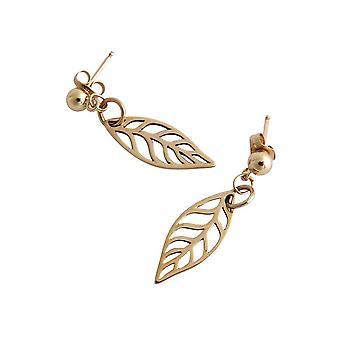 Blad oorbellen bronzen oorbellen blad bronzen goud vergulde blad oorbellen