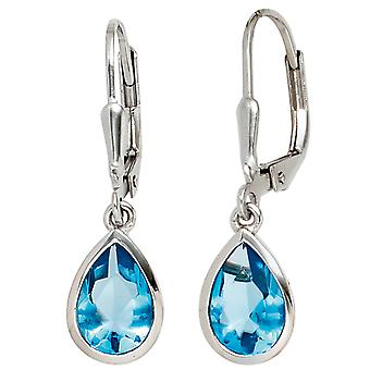 Boutons 925 sterling silver rhodium plated 2 cubic zirconia blue earrings