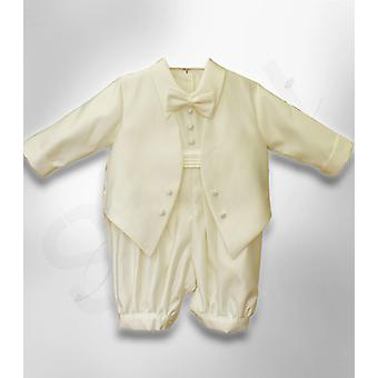 NEW Baby Boys All In One Ivory Christening Suit 5 PCS Baptism Suit Outfit