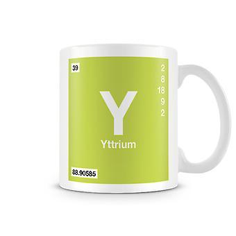 Taza impresa científica con elemento Y símbolo 039 - Yttirum