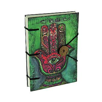 Bright Red and Green Hard Cover Hamsa Hand Journal