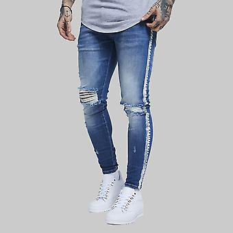 Sik Silk Knee Burst Paint Stripe Denim Jeans Midstone