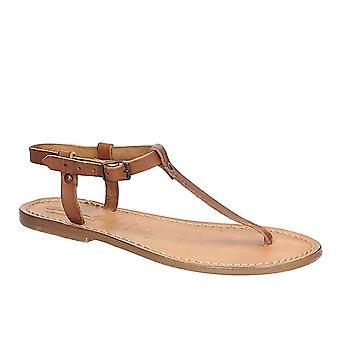 Sandali infradito T-cinturino in cuoio marrone chiaro a mano in Italia