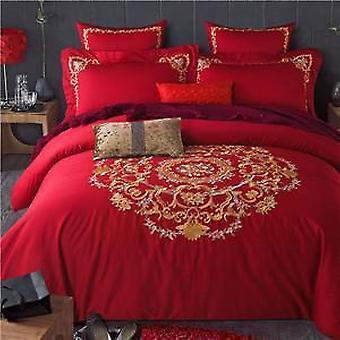 1000 tc 幾何学刺繍エジプト綿のベッド シート枕カバー羽毛布団カバー結婚式を設定します。